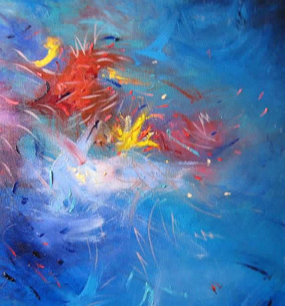 Pulizia dei pennelli, dipinto di Jaya Caos