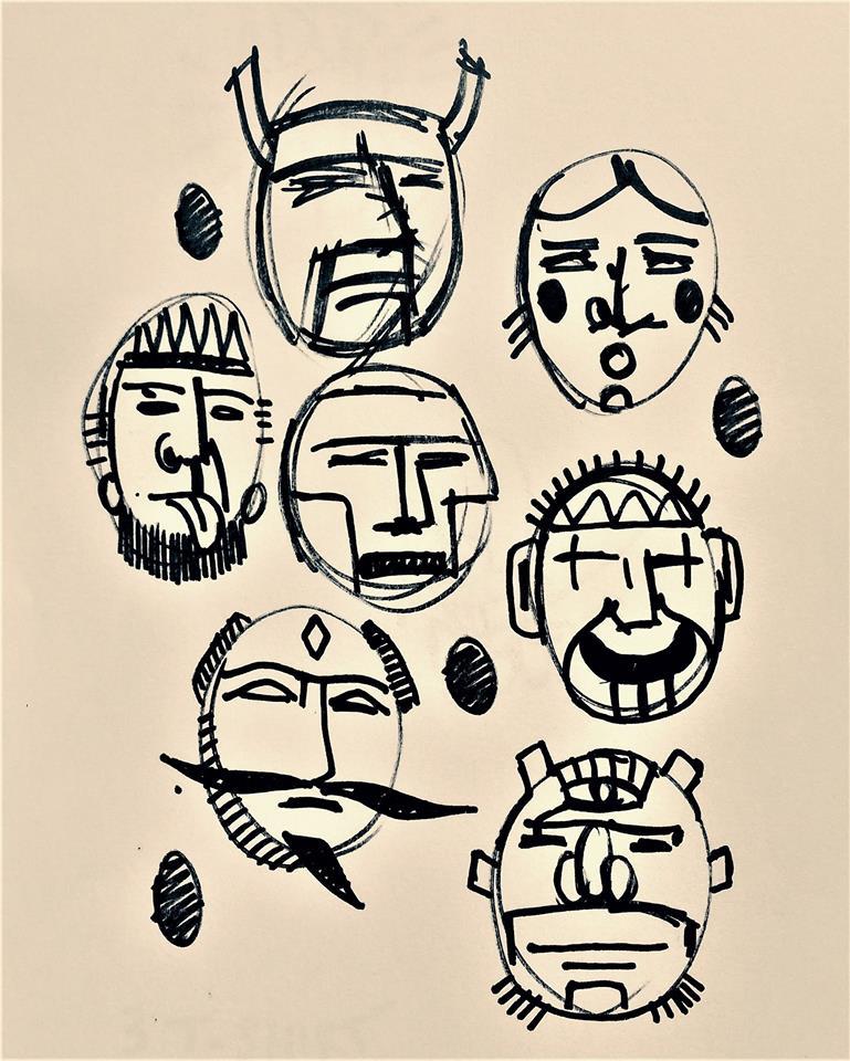 Maschere del pensiero libero, disegno di Emanuele Di Spirito