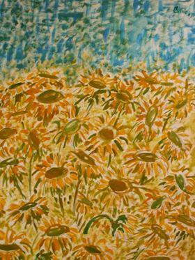 Campo di girasoli, dipinto di Donatella Curcio