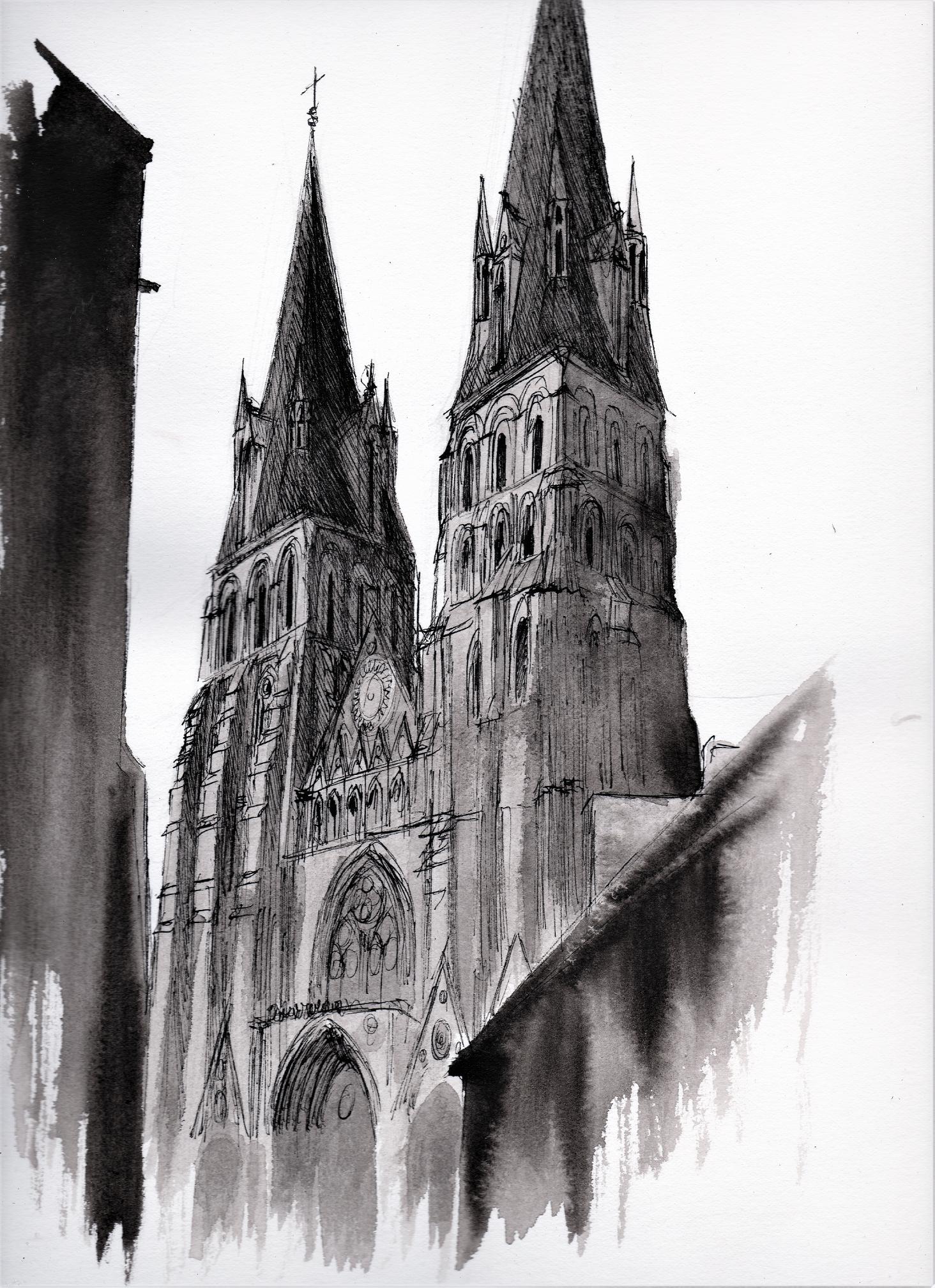 Cattedrale di Bayeux, dipinto di Gabriele Artusio