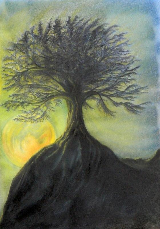L'albero e la notte, dipinto di Gabriel Vanadis