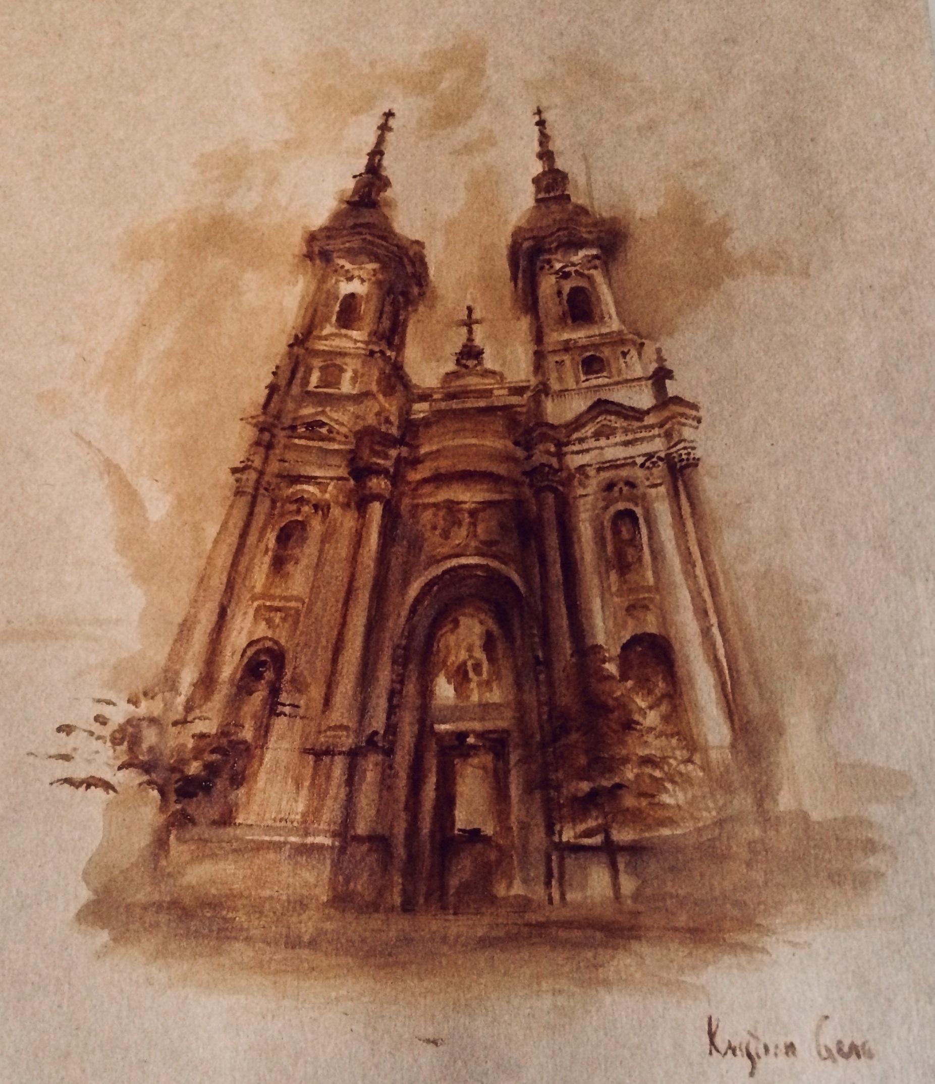Chiesa serba, dipinto di Kristina Genc