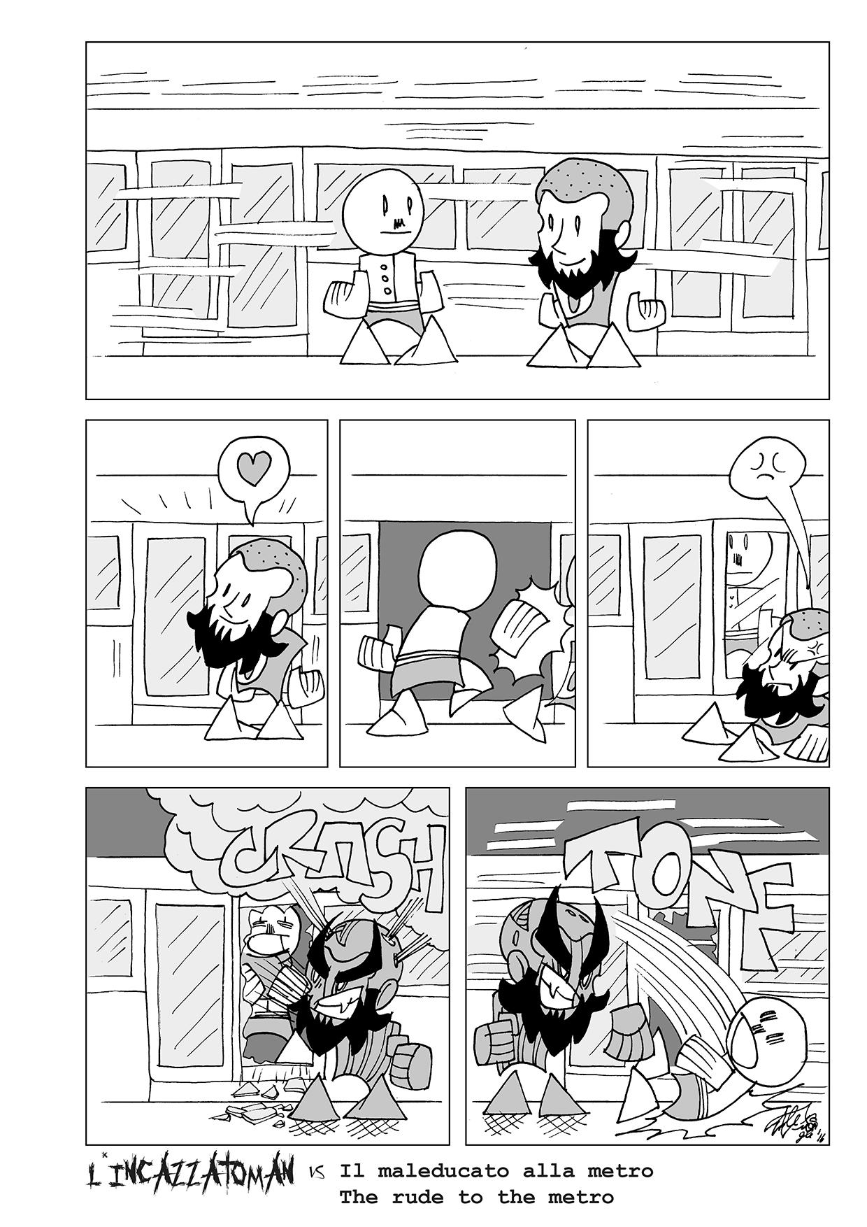 il maleducato alla metro, disegno di Alex Galbero