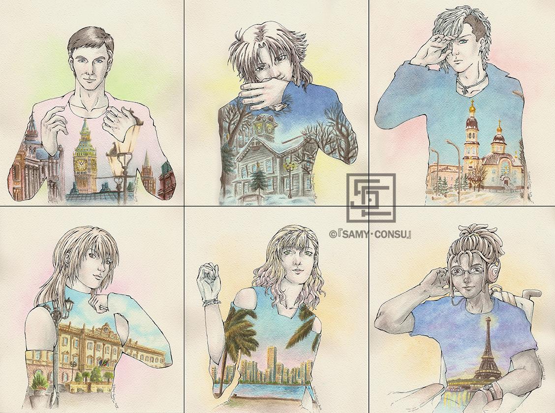 6 OC's x 6 cities, disegno di  Samy - Consu