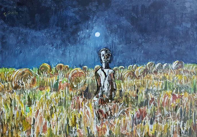 Questa notte, dipinto di Donatella Curcio ispirato al film La voce della luna di Fellini