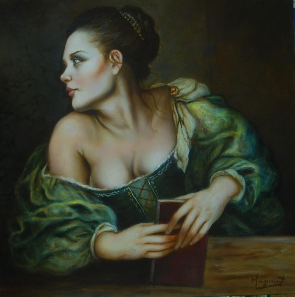 'Quando un libro ti fa pensare quello a cui non avresti mai pensato''dipinto di Domenico Mingione