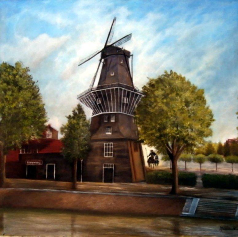 Mulino olandese, dipinto di Maria Vinci